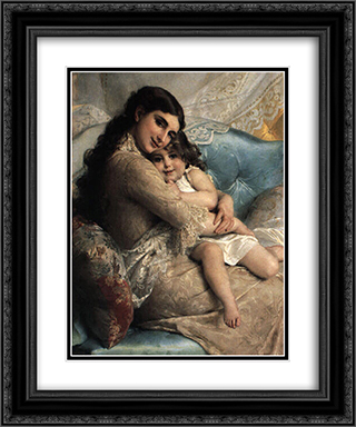 Portrait of a Mother and Daughter 20x24 Black or Gold Ornate Framed and Double Matted Art Print by Emile Munier