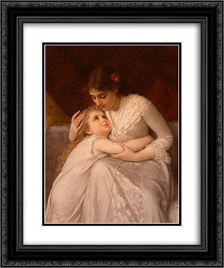 Pardon Mama 20x24 Black or Gold Ornate Framed and Double Matted Art Print by Emile Munier
