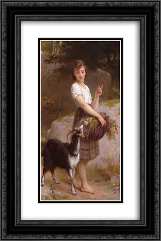 Young Girl with Goat & Flowers 16x24 Black or Gold Ornate Framed and Double Matted Art Print by Emile Munier