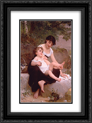 Mother and Child 18x24 Black or Gold Ornate Framed and Double Matted Art Print by Emile Munier