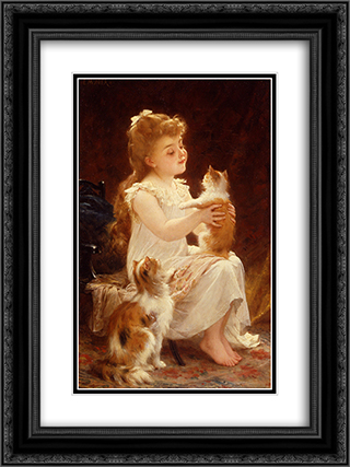 Playing with the Kitten 18x24 Black or Gold Ornate Framed and Double Matted Art Print by Emile Munier