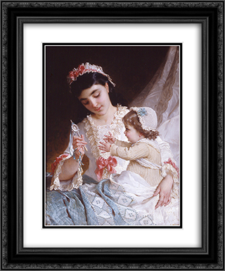 Distracting the Baby 20x24 Black or Gold Ornate Framed and Double Matted Art Print by Emile Munier