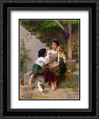 Playing with the Kittens 20x24 Black or Gold Ornate Framed and Double Matted Art Print by Emile Munier