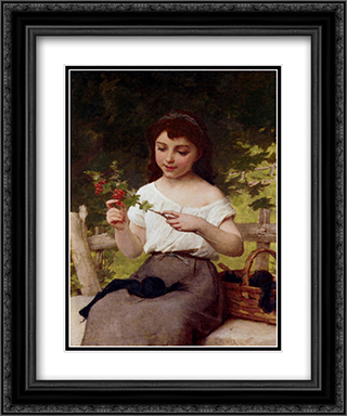 A Sprig of Berries 20x24 Black or Gold Ornate Framed and Double Matted Art Print by Emile Munier