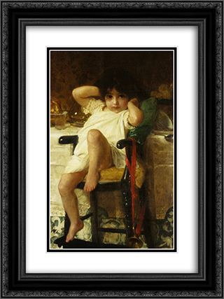 En Penitence 18x24 Black or Gold Ornate Framed and Double Matted Art Print by Emile Munier