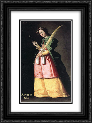 St Apolonia 18x24 Black or Gold Ornate Framed and Double Matted Art Print by Francisco de Zurbaran