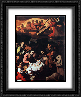 The Adoration of the Shepherds 20x24 Black or Gold Ornate Framed and Double Matted Art Print by Francisco de Zurbaran