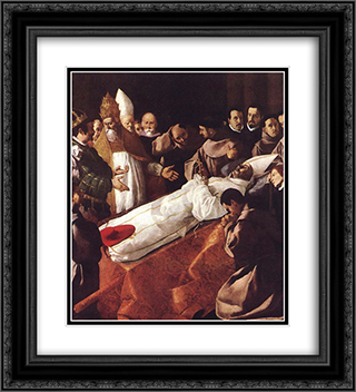 The lying'in'state of St Bonaventura 20x22 Black or Gold Ornate Framed and Double Matted Art Print by Francisco de Zurbaran