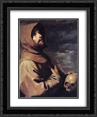 St Francis 20x24 Black or Gold Ornate Framed and Double Matted Art Print by Francisco de Zurbaran