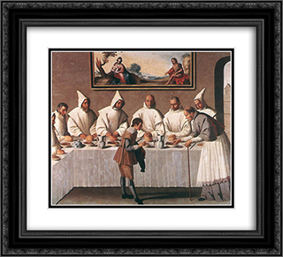St Hugo of Grenoble in the Carthusian Refectory 22x20 Black or Gold Ornate Framed and Double Matted Art Print by Francisco de Zurbaran
