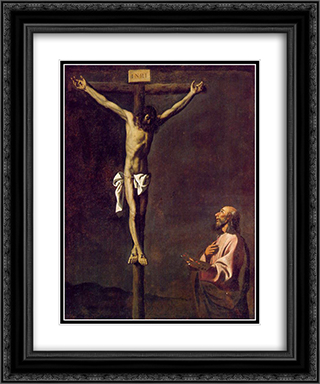 St Luke as a painter before Christ on the Cross 20x24 Black or Gold Ornate Framed and Double Matted Art Print by Francisco de Zurbaran