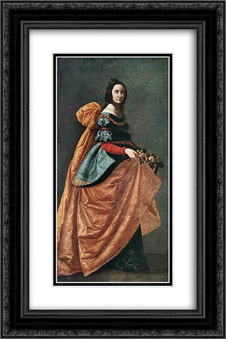St Casilda of Burgos 16x24 Black or Gold Ornate Framed and Double Matted Art Print by Francisco de Zurbaran