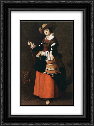 St Margaret 18x24 Black or Gold Ornate Framed and Double Matted Art Print by Francisco de Zurbaran