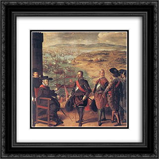 Defence of Cadiz against the English 20x20 Black or Gold Ornate Framed and Double Matted Art Print by Francisco de Zurbaran