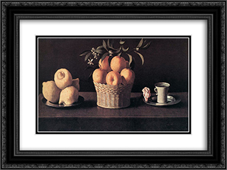 Still life with Oranges, Lemons and Rose 24x18 Black or Gold Ornate Framed and Double Matted Art Print by Francisco de Zurbaran