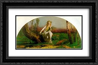 Ophelia 24x16 Black or Gold Ornate Framed and Double Matted Art Print by Arthur Hughes