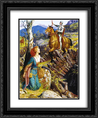 Overthrowing of the Rusty Knight 20x24 Black or Gold Ornate Framed and Double Matted Art Print by Arthur Hughes