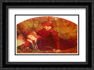 The Brave Geraint 24x18 Black or Gold Ornate Framed and Double Matted Art Print by Arthur Hughes