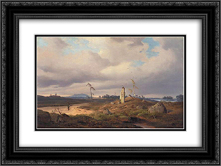Landscape with Rune Stone 24x18 Black or Gold Ornate Framed and Double Matted Art Print by Andreas Achenbach
