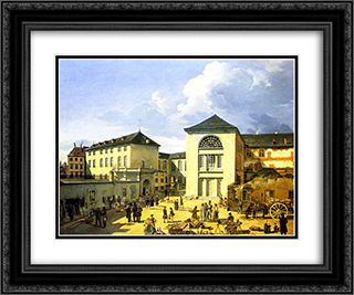 Die alte Akademie in Dusseldorf 24x20 Black or Gold Ornate Framed and Double Matted Art Print by Andreas Achenbach