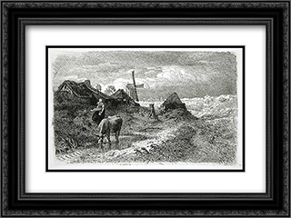 Dutch Landscape with Woman and Cow 24x18 Black or Gold Ornate Framed and Double Matted Art Print by Andreas Achenbach