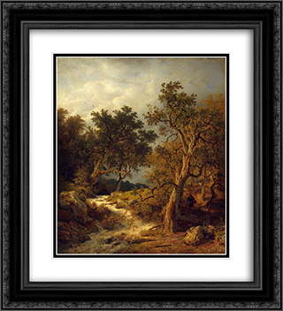 Landscape with a Stream 20x22 Black or Gold Ornate Framed and Double Matted Art Print by Andreas Achenbach