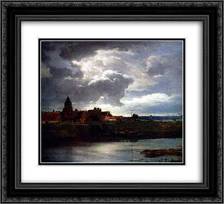 Landschaft mit Fluss 22x20 Black or Gold Ornate Framed and Double Matted Art Print by Andreas Achenbach