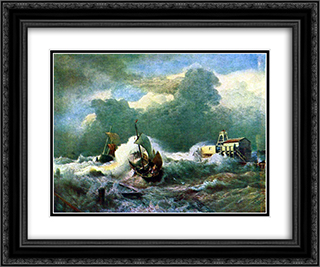 Leuchtturm bei Ostende 24x20 Black or Gold Ornate Framed and Double Matted Art Print by Andreas Achenbach