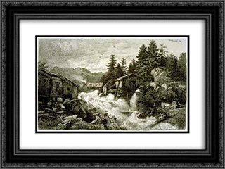 Logging Camp 24x18 Black or Gold Ornate Framed and Double Matted Art Print by Andreas Achenbach