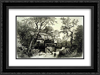 Mill Beside a Stream 24x18 Black or Gold Ornate Framed and Double Matted Art Print by Andreas Achenbach