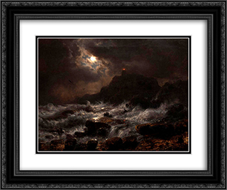 Norwegian Coast by Moonlight 24x20 Black or Gold Ornate Framed and Double Matted Art Print by Andreas Achenbach