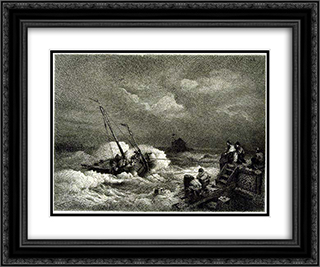 Pulling in a Boat 24x20 Black or Gold Ornate Framed and Double Matted Art Print by Andreas Achenbach
