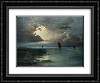 Sonnenuntergang am Meer mit aufziehendem Gewitter 24x20 Black or Gold Ornate Framed and Double Matted Art Print by Andreas Achenbach