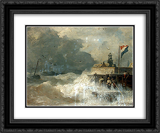 Sturm an der Kuste 24x20 Black or Gold Ornate Framed and Double Matted Art Print by Andreas Achenbach