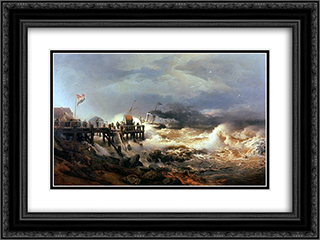 Storm at Dutch Coast 24x18 Black or Gold Ornate Framed and Double Matted Art Print by Andreas Achenbach