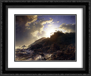 Sunset after a Storm on the Coast of Sicily 24x20 Black or Gold Ornate Framed and Double Matted Art Print by Andreas Achenbach