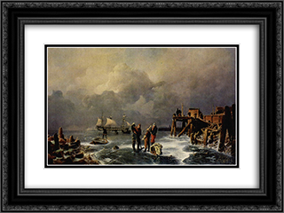 Ufer des zugefrorenen Meeres (Winterlandschaft) 24x18 Black or Gold Ornate Framed and Double Matted Art Print by Andreas Achenbach