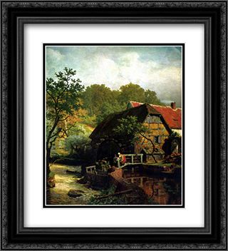 Westfalische Wassermuhle 20x22 Black or Gold Ornate Framed and Double Matted Art Print by Andreas Achenbach