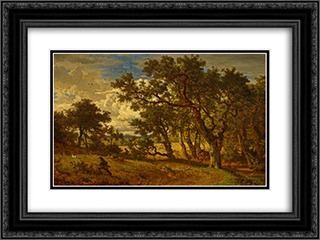 A Hunter and His Dog 24x18 Black or Gold Ornate Framed and Double Matted Art Print by Andreas Achenbach