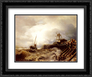 A Fishing Boat Caught In A Squall Off A Jetty 24x20 Black or Gold Ornate Framed and Double Matted Art Print by Andreas Achenbach