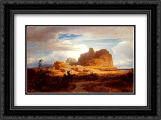 Don Quixote and Sancho Panza 24x18 Black or Gold Ornate Framed and Double Matted Art Print by Andreas Achenbach