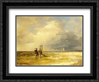 Fishing Along the Shore 24x20 Black or Gold Ornate Framed and Double Matted Art Print by Andreas Achenbach