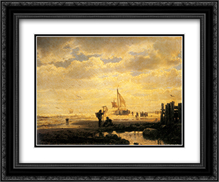 Bringing in the Catch 24x20 Black or Gold Ornate Framed and Double Matted Art Print by Andreas Achenbach