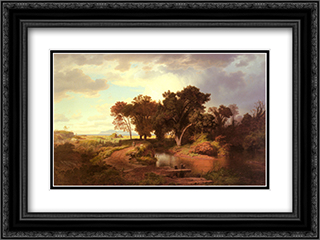 Herbstmorgen In Den Pontinischen Sumpfen 24x18 Black or Gold Ornate Framed and Double Matted Art Print by Andreas Achenbach