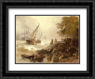 Hafeneinfahrt Bei Rauher See 24x20 Black or Gold Ornate Framed and Double Matted Art Print by Andreas Achenbach
