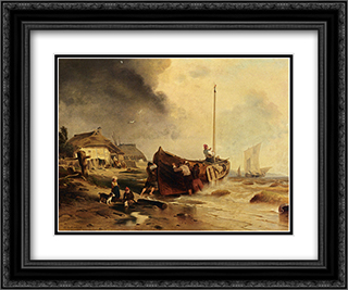 A Fishingboat On The Beach 24x20 Black or Gold Ornate Framed and Double Matted Art Print by Andreas Achenbach