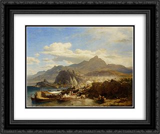 A Busy Town on the Levantine Coast 24x20 Black or Gold Ornate Framed and Double Matted Art Print by Andreas Achenbach