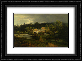 The Watermill in the Village 24x18 Black or Gold Ornate Framed and Double Matted Art Print by Andreas Achenbach
