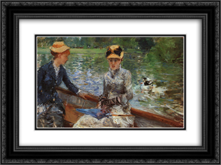 A Summer's Day 24x18 Black or Gold Ornate Framed and Double Matted Art Print by Berthe Morisot
