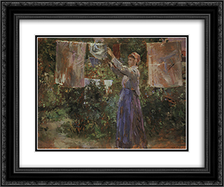 Peasant Hanging out the Washing 24x20 Black or Gold Ornate Framed and Double Matted Art Print by Berthe Morisot